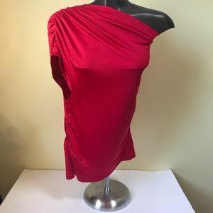 Elizabeth & James Silk Ruched Drape 1 Shoulder Top